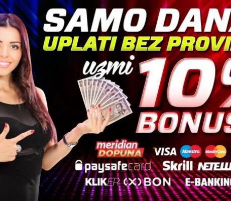 MERIDIAN: Sve uplate danas dobijaju bonus 10%, a svaka registracija 20 KM ZA BESPLATAN TIKET!